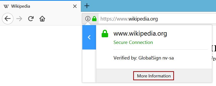 OV Certificate Information Firefox 57