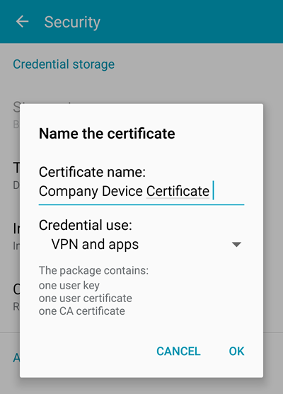 set your certificate name and purpose in the android certificate installation instructions