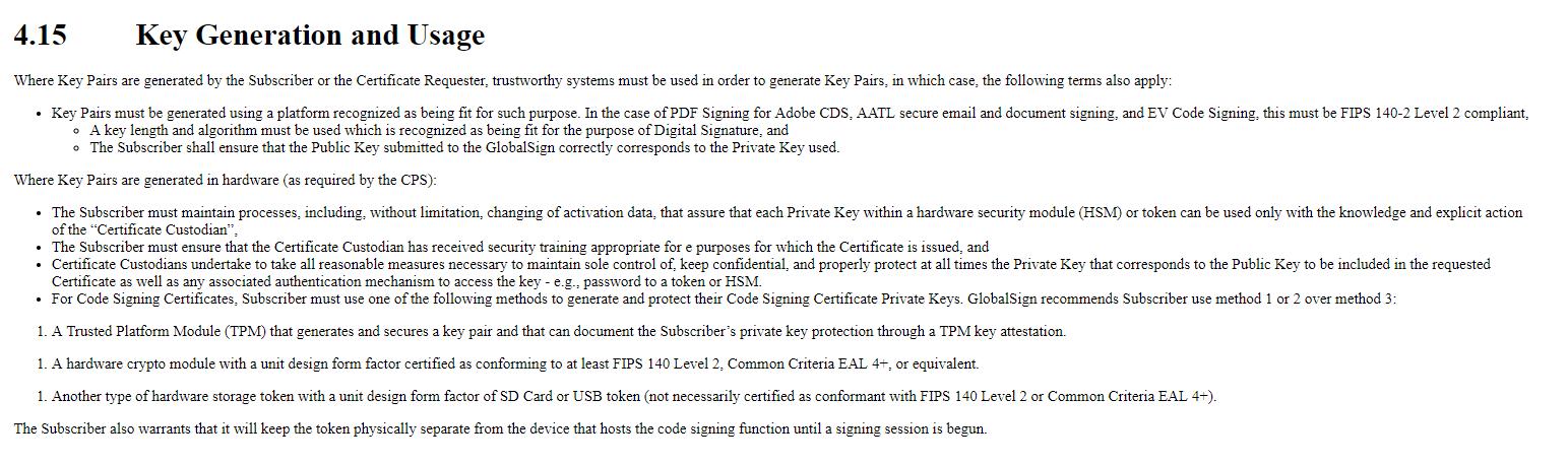 4.15 Key Generation and Usage