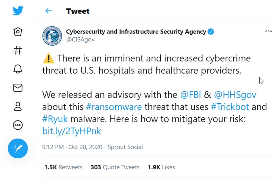 tweet from CISA regarding trickbot and ryuk malware.png