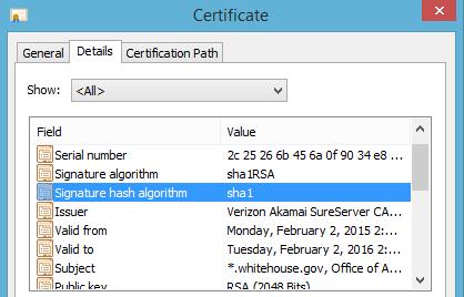 whitehouse.gov SHA-1 certificate