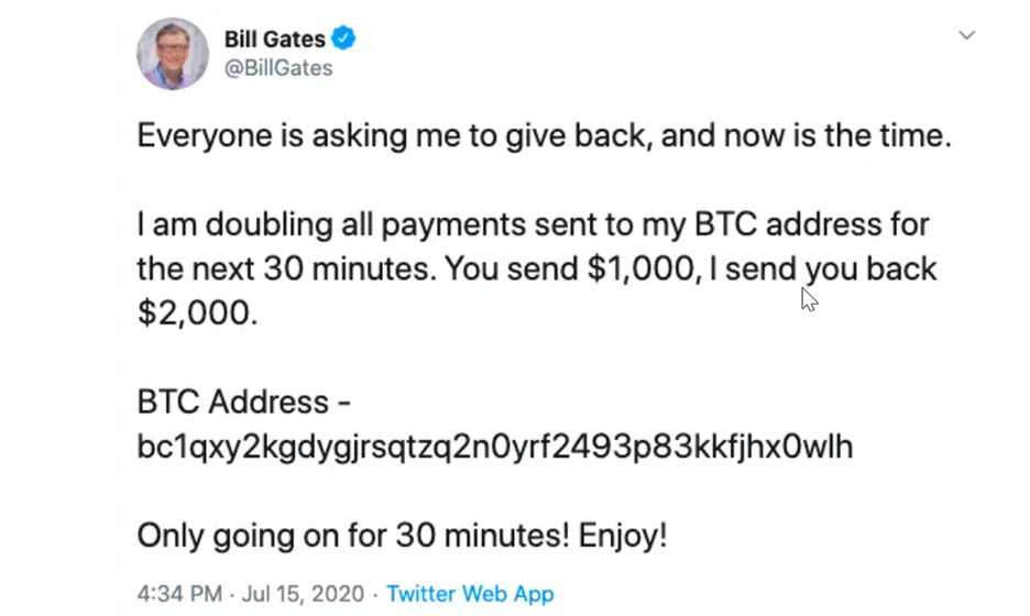 twitter cyber attack july 2020 tweet from bill gates screenshot.png