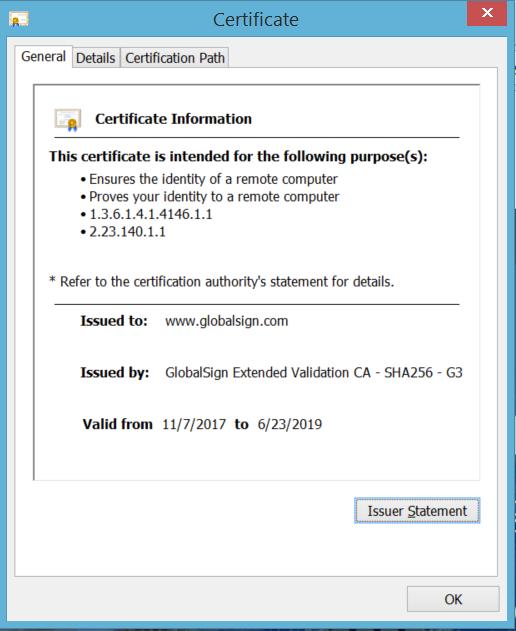 Chrome 63 SSL Certificate details