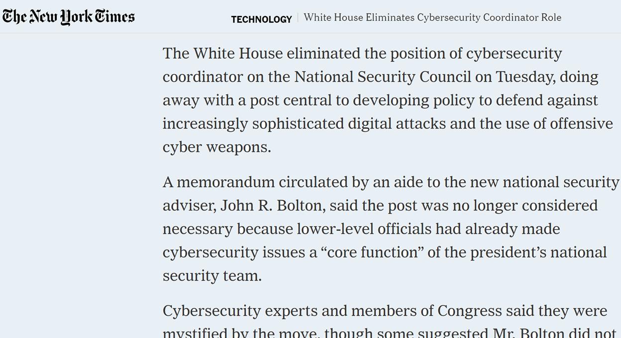 New York Times cybersecurity coordinator position headline.png