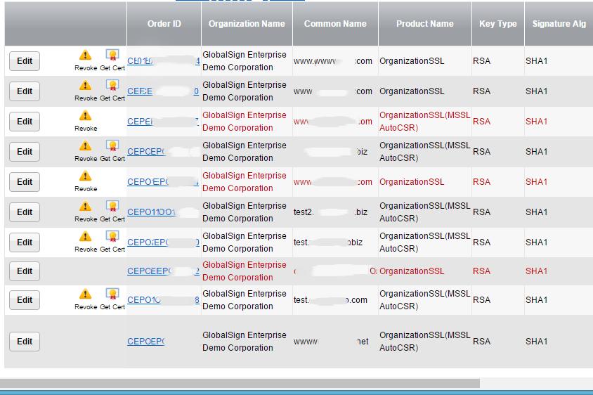 SHA-1 report results in GlobalSign customer portal