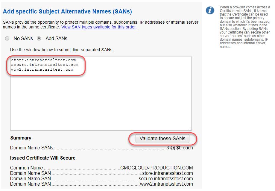 Example bulk SAN order in GlobalSign's certificate management platform.