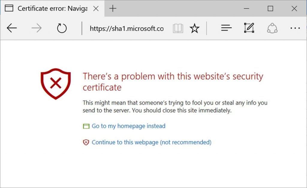 microsoft sha-1 certificate error