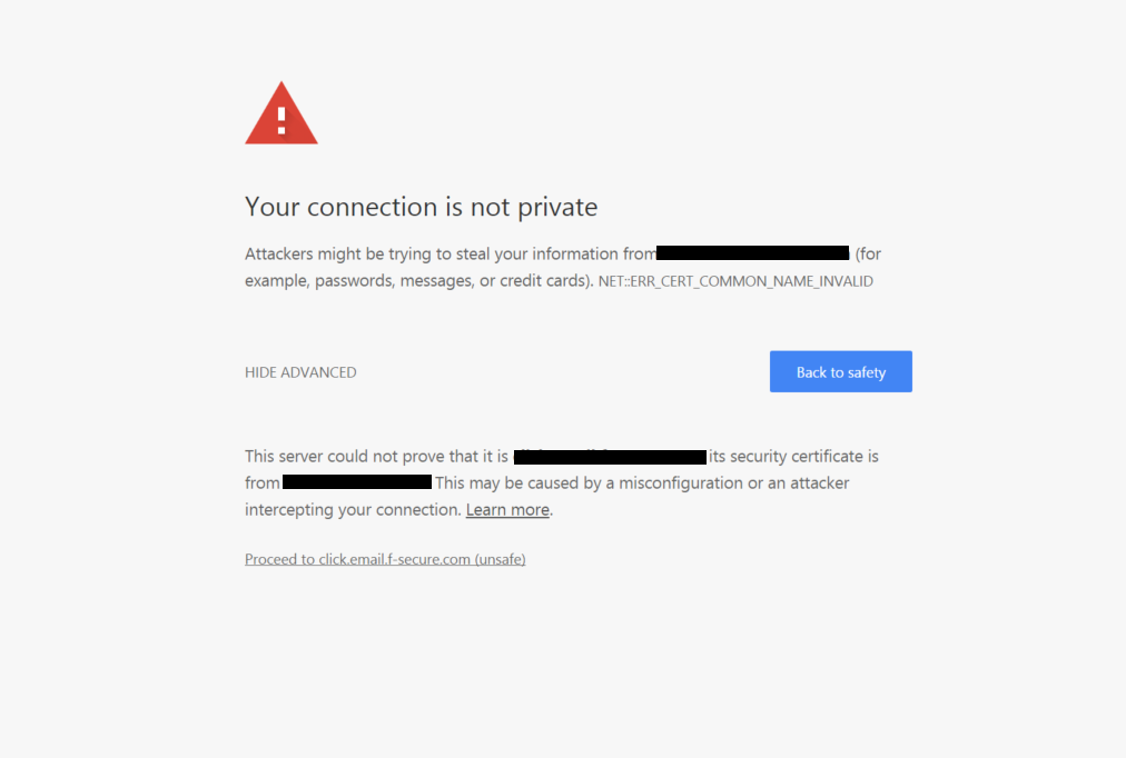 Chrome: 'This server could not prove that it is example.com; its security certificate is from example.com. This may cause a misconfiguration or an attacker intercepting your connection'