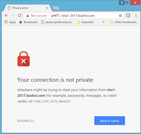 Examples in Chrome with a SHA-1 certificate past the deadline