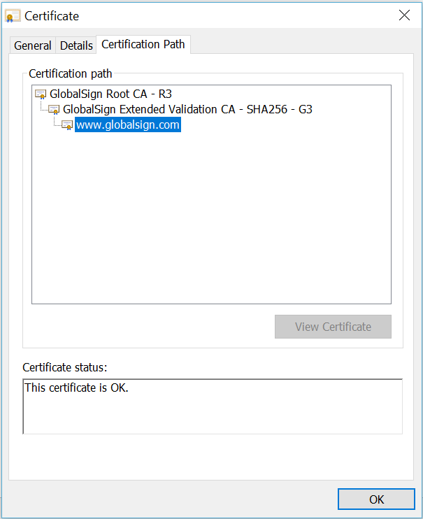 Example certificate path for publicly trusted SSL/TLS Certificate viewed in Chrome.