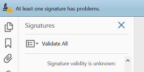 Example of a non-trusted digital signature in Adobe Reader.