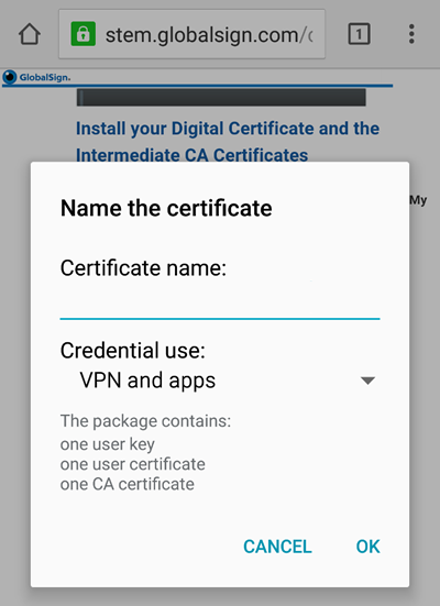 name your device certificate globalsign
