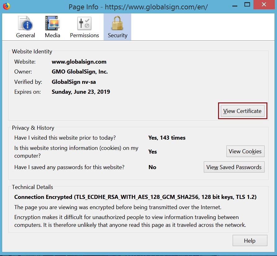 Firefox 57 Certificate Details