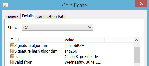 Example certificate details from Google Chrome.