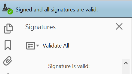 xample of a trusted digital signature in Adobe Reader.
