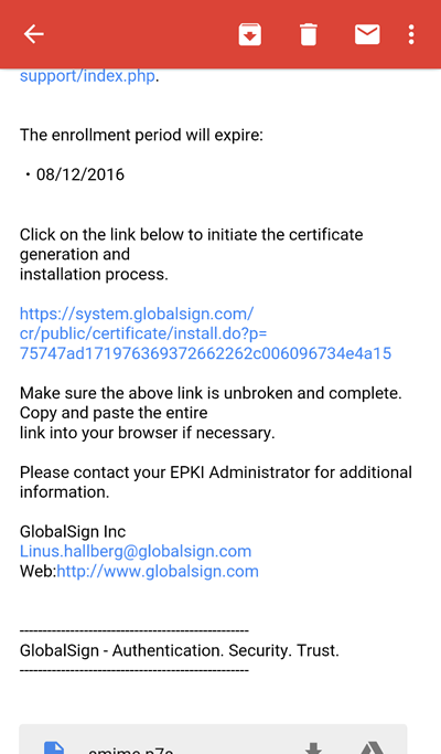 Digital Certificate Installation Email GlobalSign