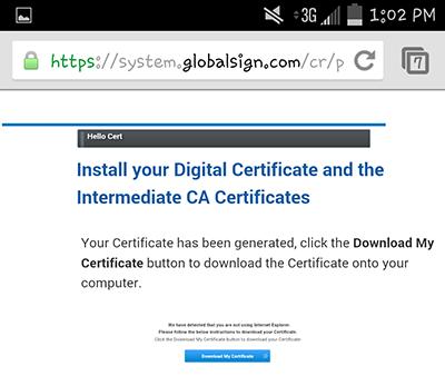 Download Zertifikat