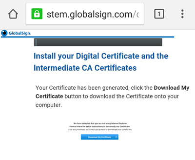 download a certificate onto your android device globalsign