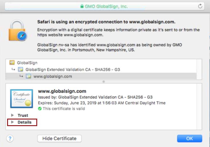 Certificate Details in Safari