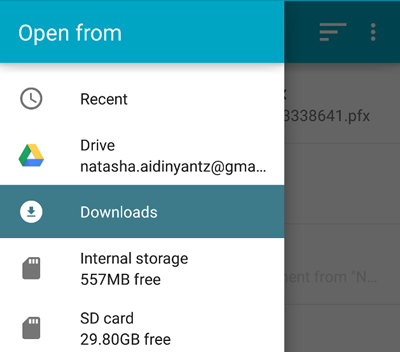 downloads folder installation fof certificate on android device