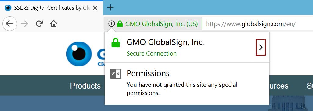 Certificate dropdown Firefox 57