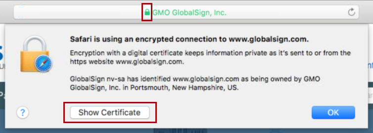 View Certificate in Safari