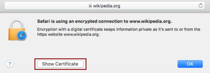 OV Certificate in Safari