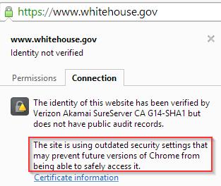 whitehouse.gov SHA-1 warning