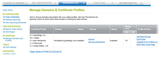 Old Managed Domains and Profiles Page