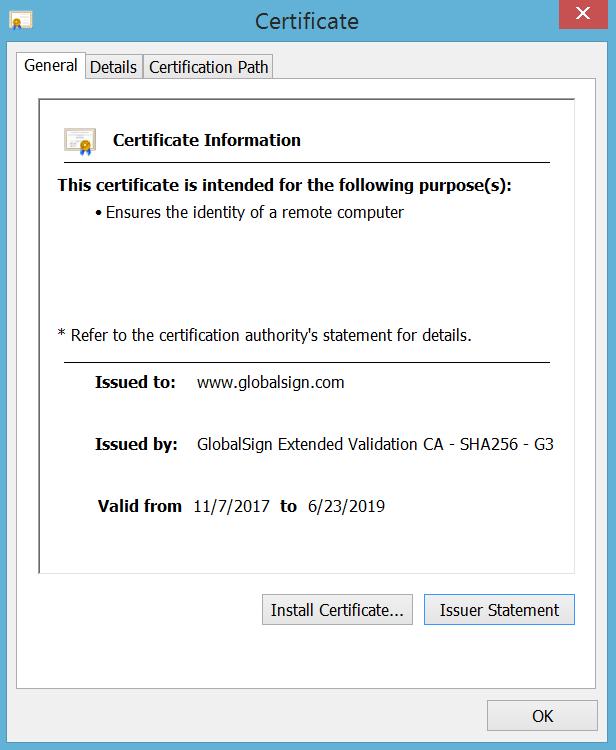 Certificate Window IE 11