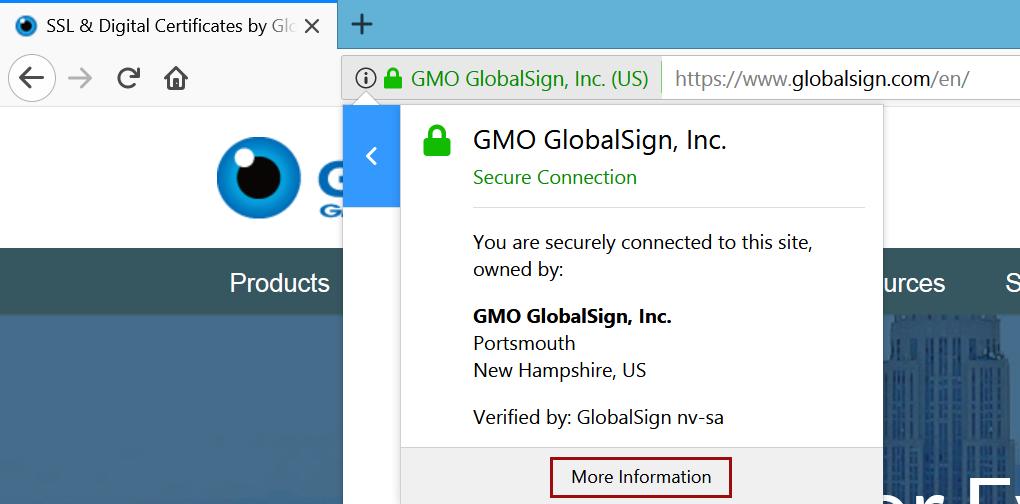 EV Certificate Information Firefox 57