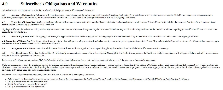4.0 Subscriber obligations and Warranties