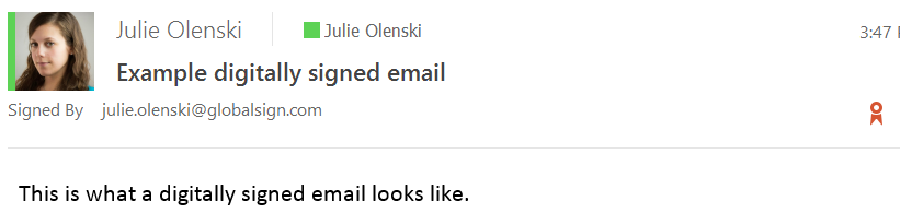 what a signed email looks like in outklook