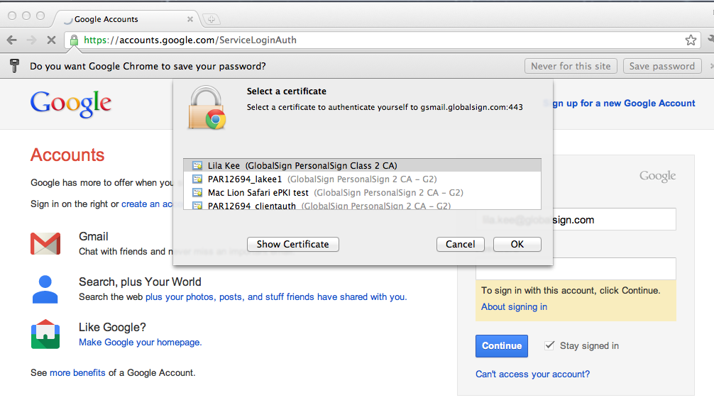 Google Apps Certificate Authentication