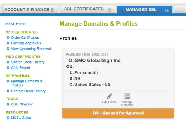 New Managed SSL Profile View