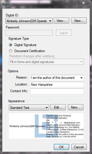 revu signature dialog